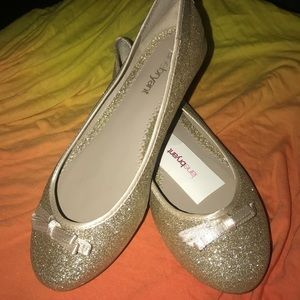 Lane Bryant gold glitter ballerina flats 9w